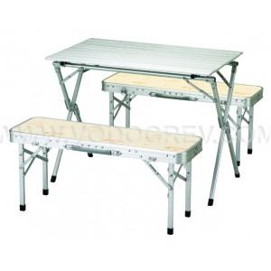 Туристический складной стол со стульями KK8FN0101 ROLL TABLE BENCH SET